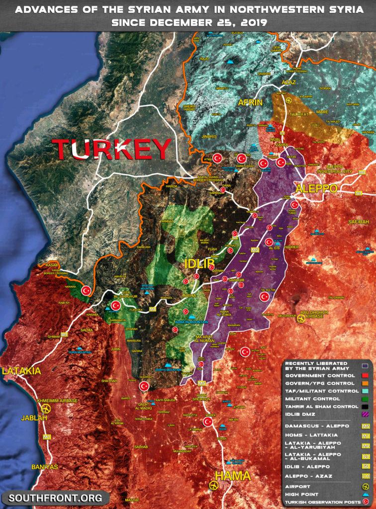 Vojenská Situácia V Severozápadnej Sýrii 29. Decembra, 2019 A Február 17, 2020 (Mapa Porovnanie)