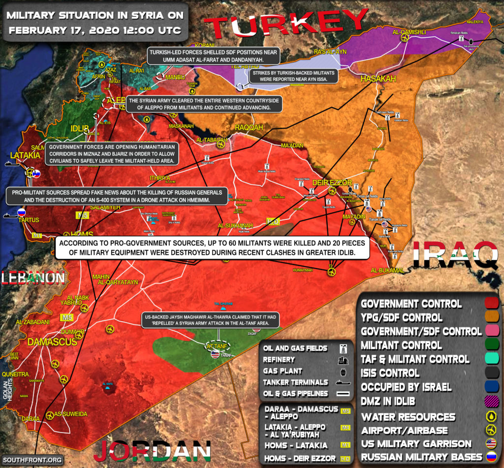 Military Situation In Syria On February 17, 2020 (Map Update)