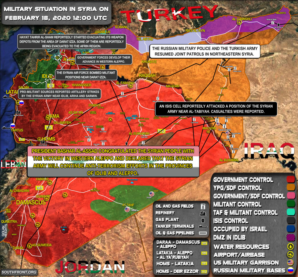 Military Situation In Syria On February 18, 2020 (Map Update)