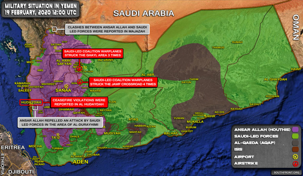 Military Situation In Yemen On February 19, 2020 (Map Update)