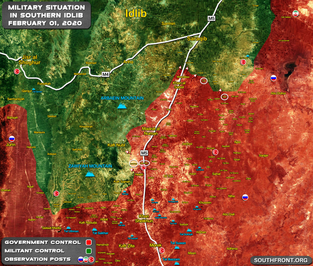 Progress Of Syrian Army Offensive In Southern Idlib On Febriary 1, 2020 (Map Update)