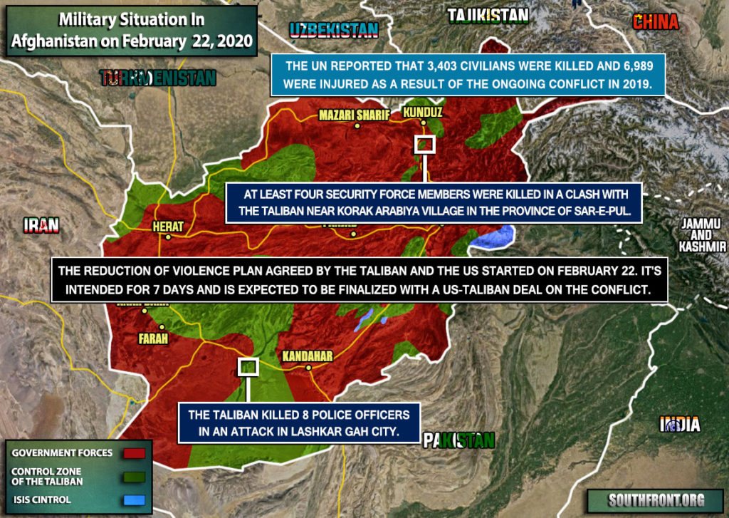 Military Situation In Afghanistan On February 22, 2020 (Map Update)