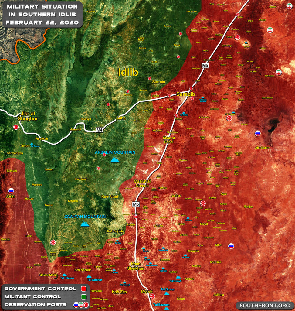 Military Situation In Southern Idlib On February 22, 2020 (Map Update)