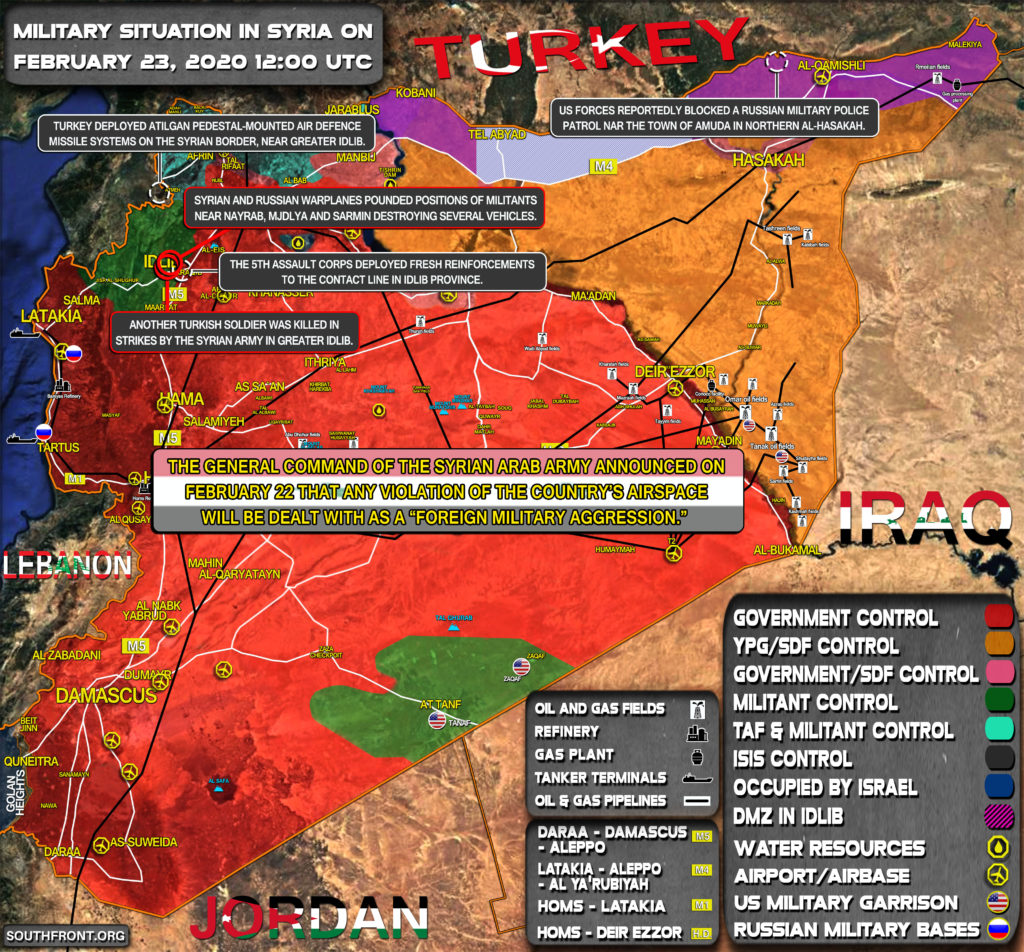 Military Situation In Syria On February 23, 2020 (Map Update)