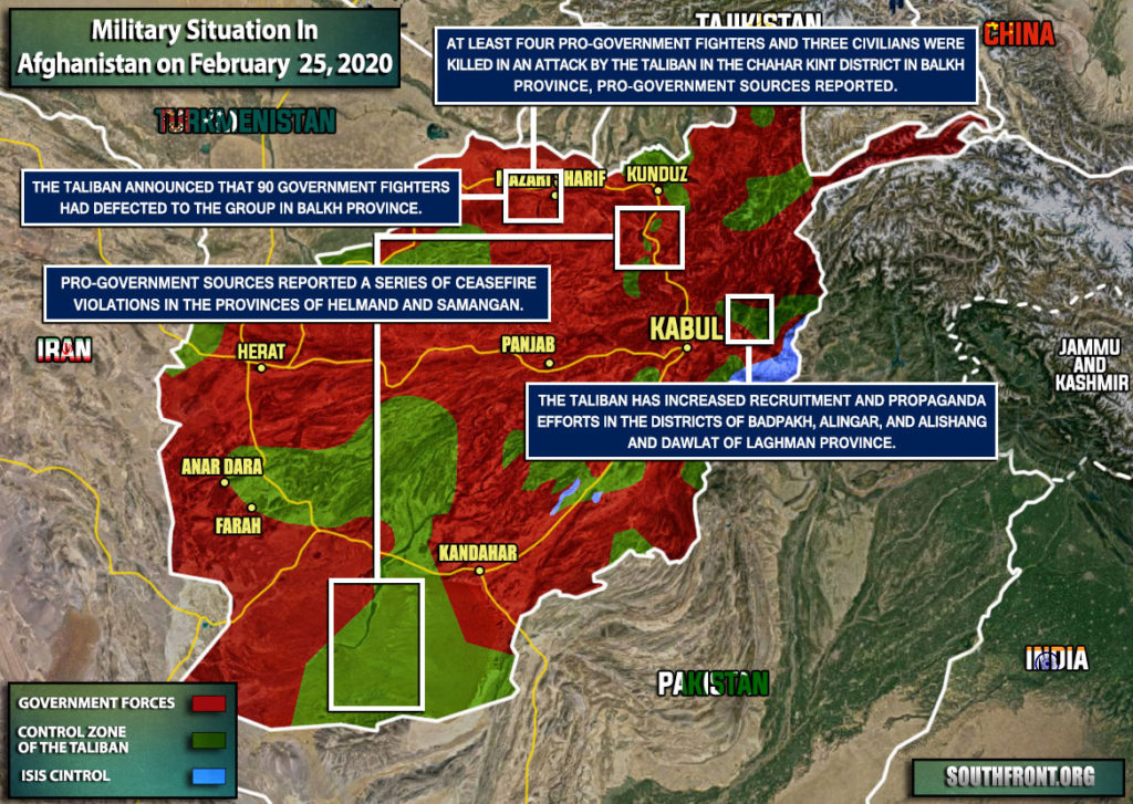 Military Situation In Afghanistan On February 25, 2020 (Map Update)