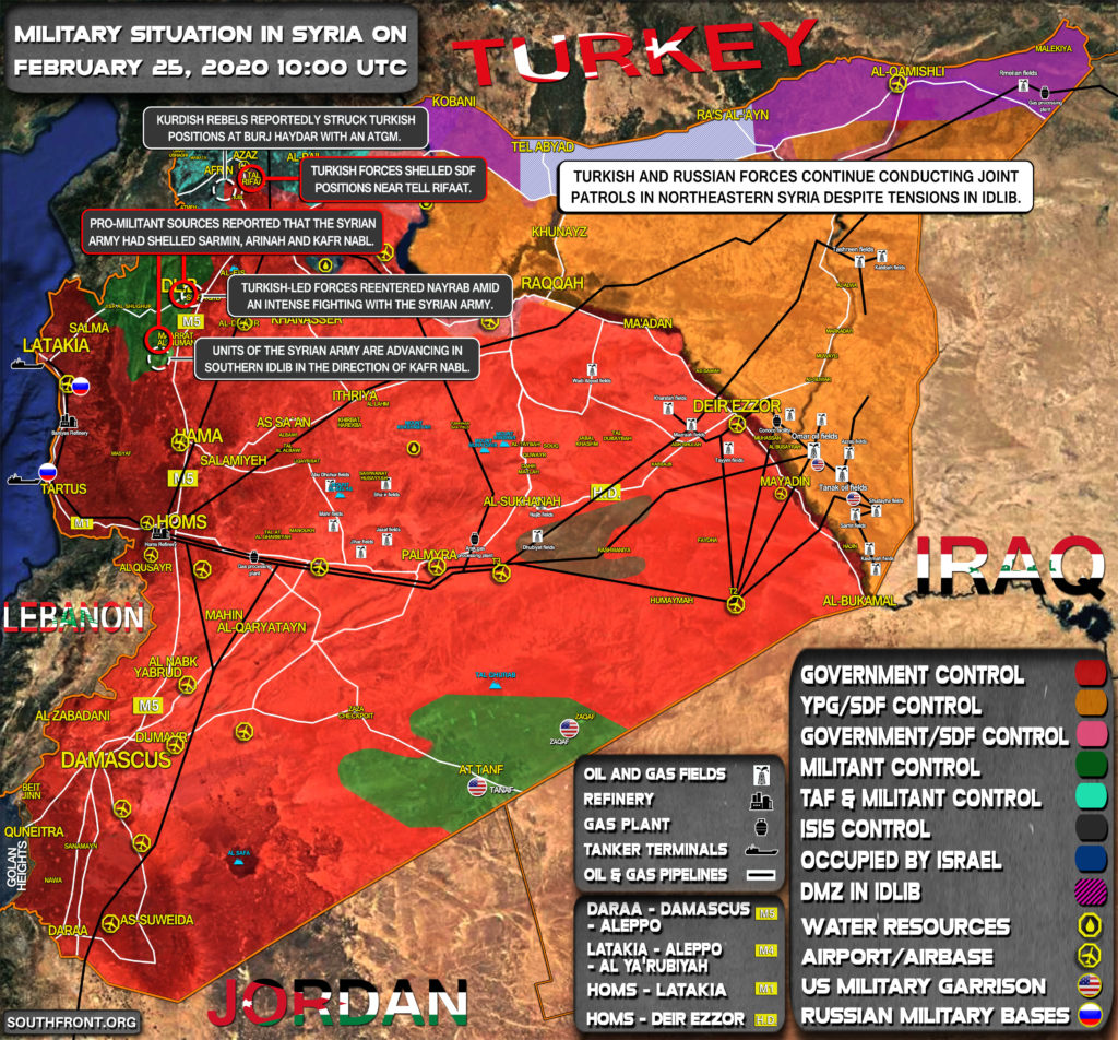 Military Situation In Syria On February 25, 2020 (Map Update)