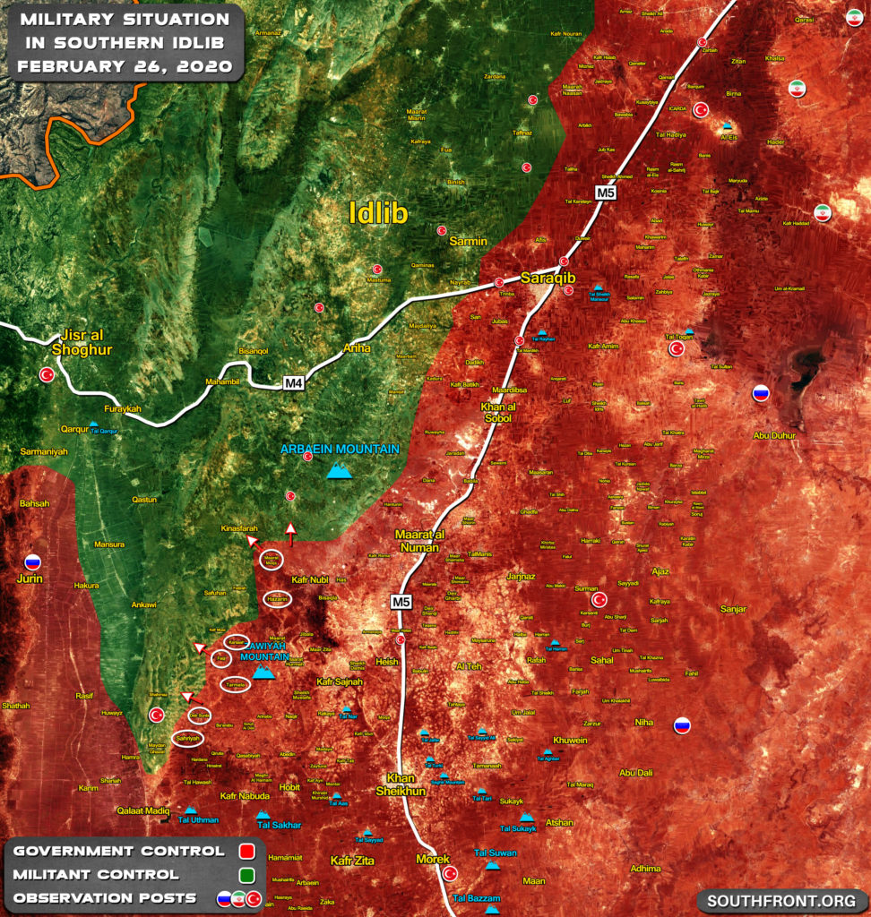 Military Situation In Southern Idlib On February 26, 2020 (Map Update)