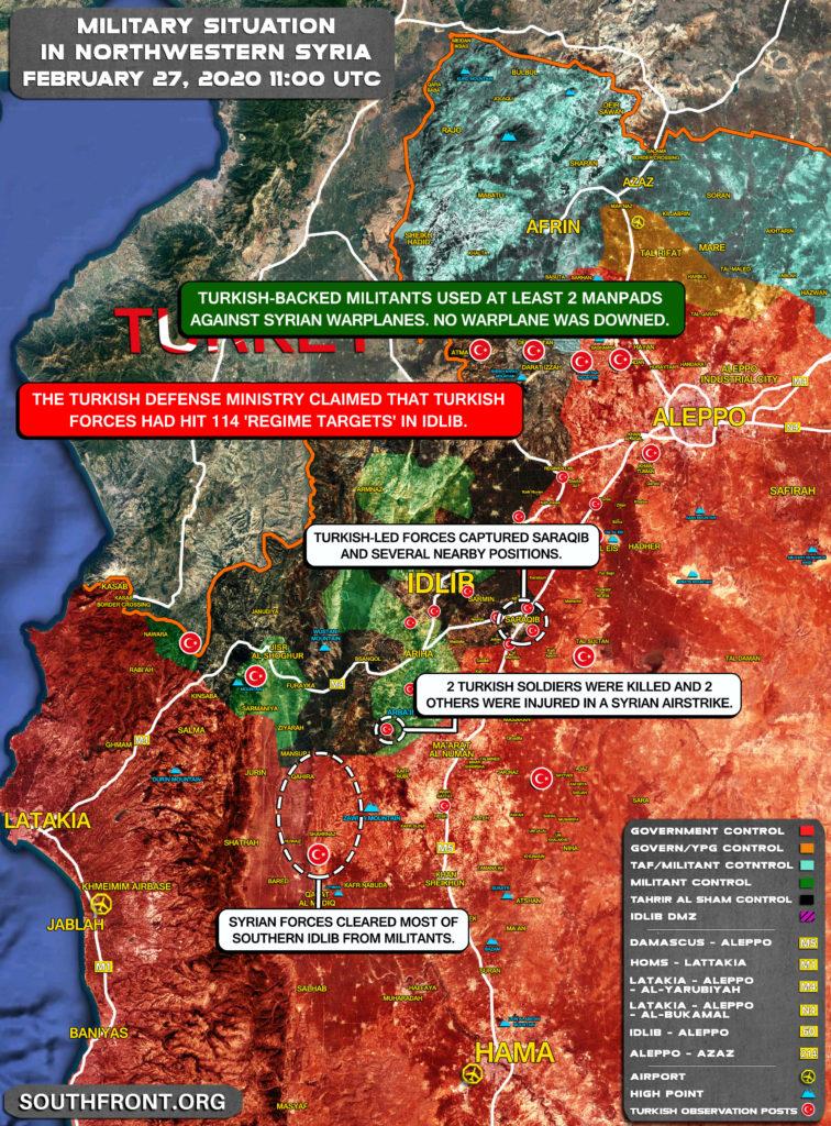 Vojenská Situácia V Severozápadnej Sýrii Na Február 27, 2020 (Aktualizácia Máp)