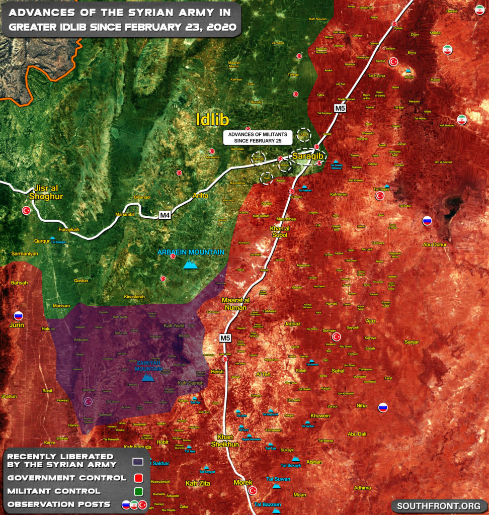 Gains And Setbacks Of Syrian Army In Greater Idlib February 23-27, 2020 (Map Update)