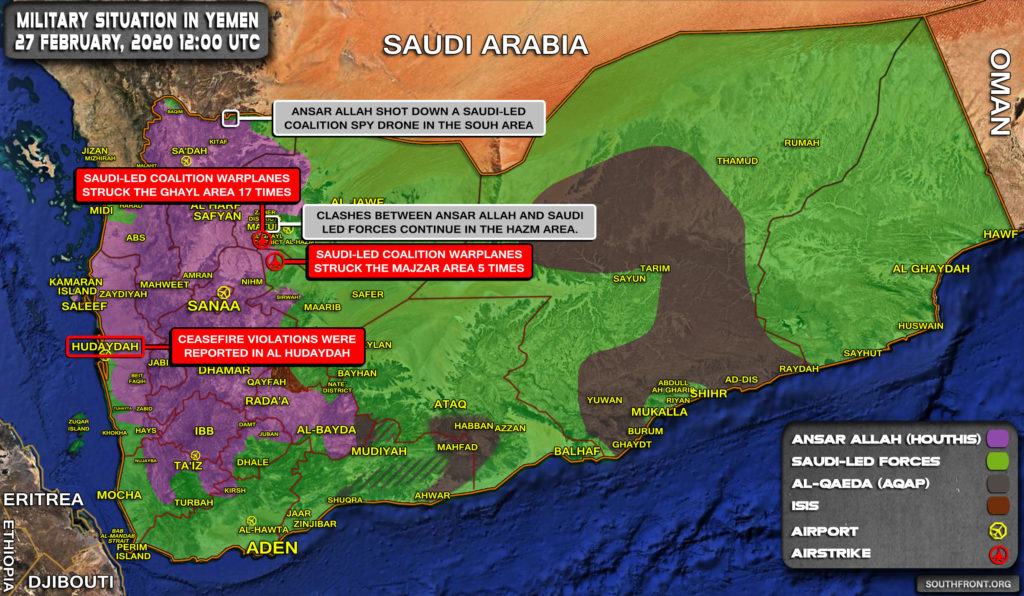 Military Situation In Yemen On February 27, 2020 (Map Update)