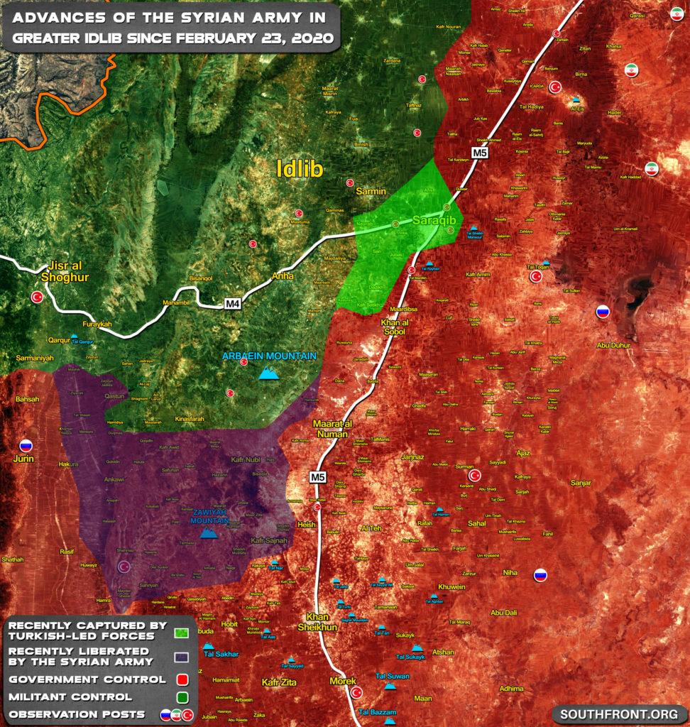 Gains And Setbacks By Syrian Army In Greater Idlib February 23-29, 2020 (Map Update)