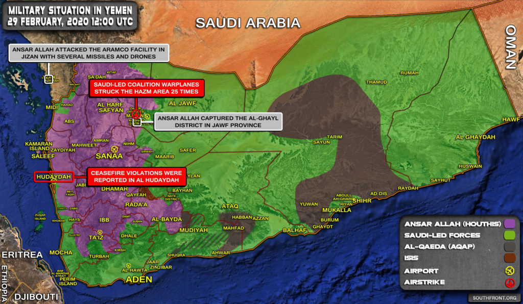 Military Situation In Yemen On February 29, 2020 (Map Update)