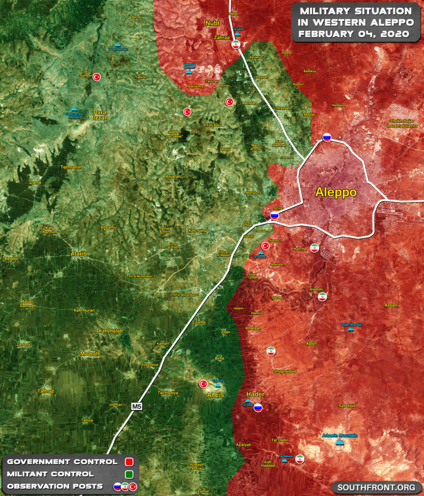 Military Situation In Western Aleppo On February 4, 2020 (Map Update)