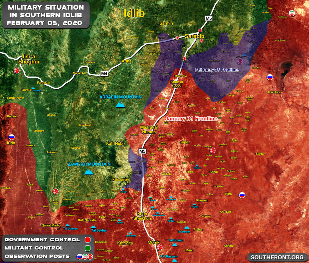 Map Comparison: Military Situation In Southern Idlib On January 31 And February 5, 2020