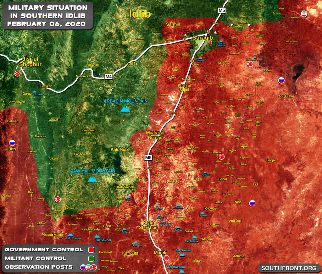 Map Update: Military Situation In Southern Idlib Following Encirclement Of Saraqib