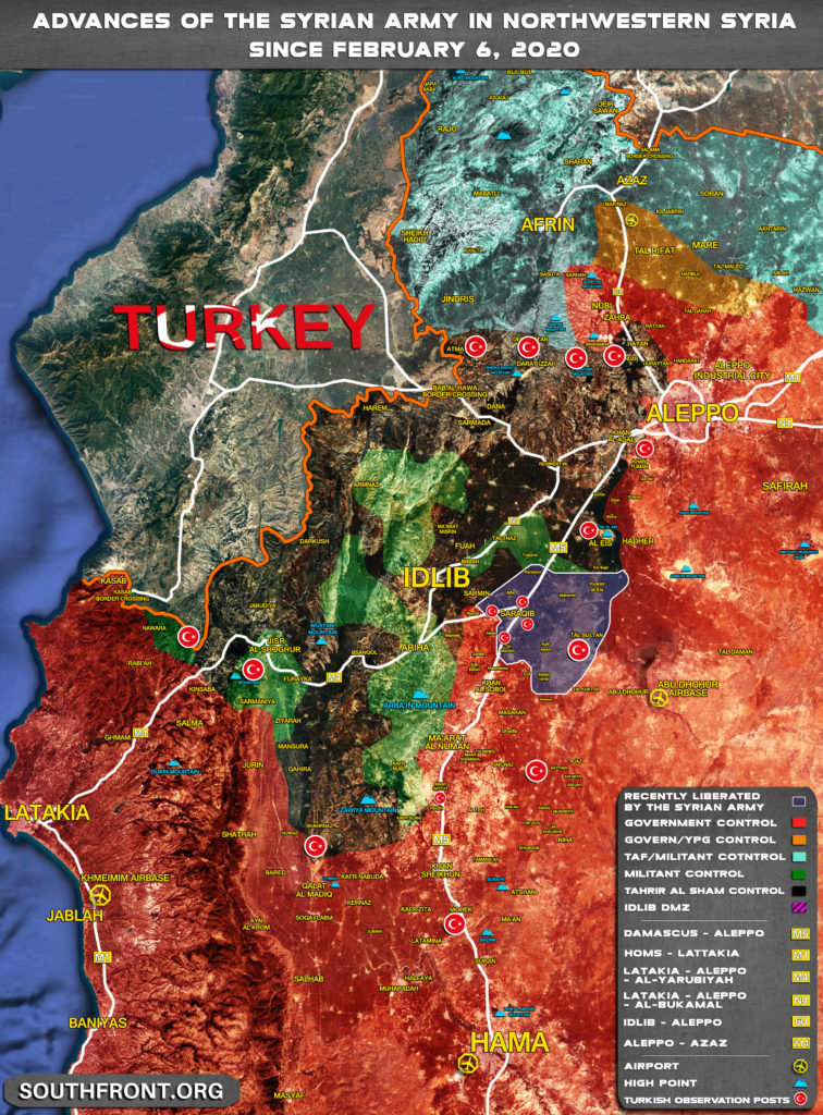 Advances Of Syrian Army In Greater Idlib SInce February 6, 2020 (Map Update)