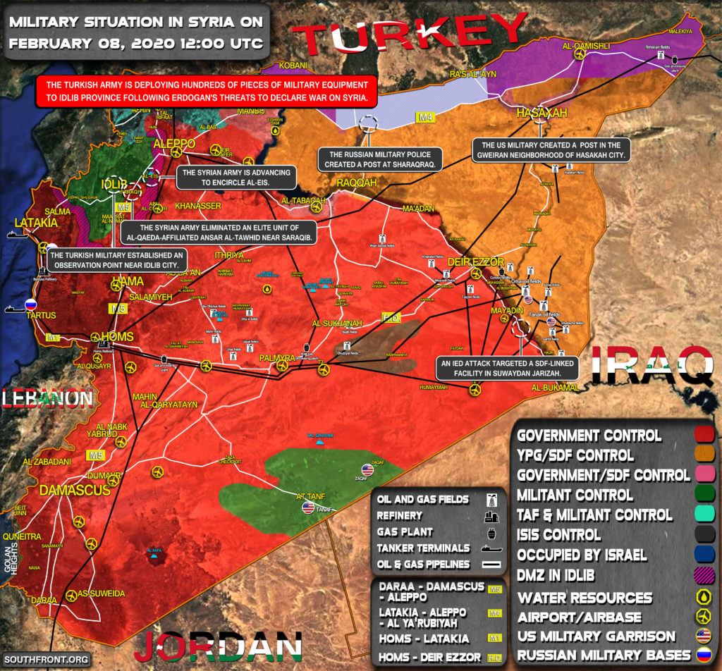 Military Situation In Syria On February 8, 2020 (Map Update)
