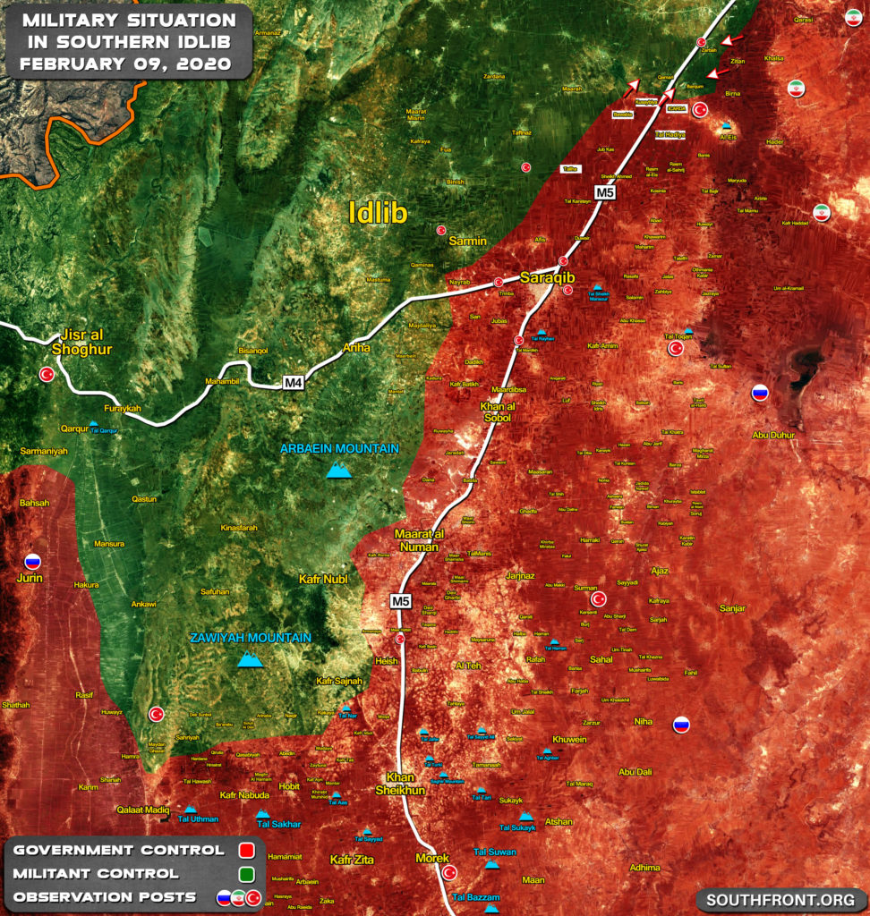 Military Situation In Idlib Province On February 9, 2020 (Map Update)