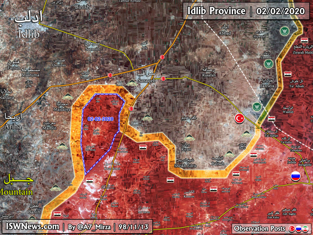 Map Update: Syrian Army Is Outflanking Saraqib From Western Direction