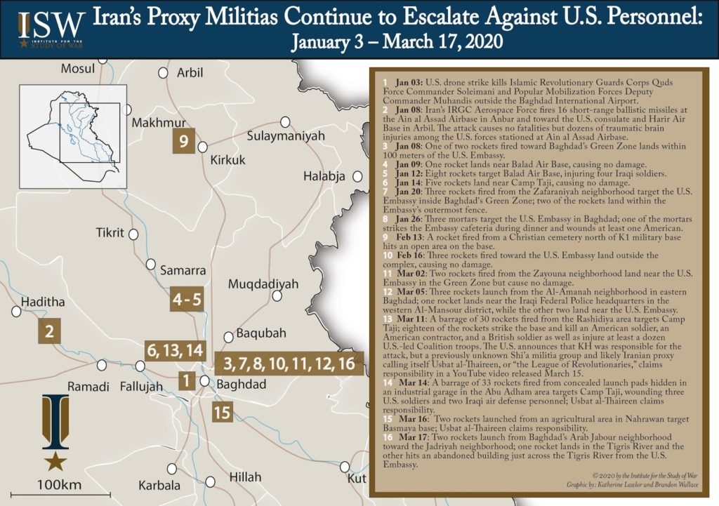 Attacks On US Facilities In Iraq January 3 - March 17, 2020 (Map)