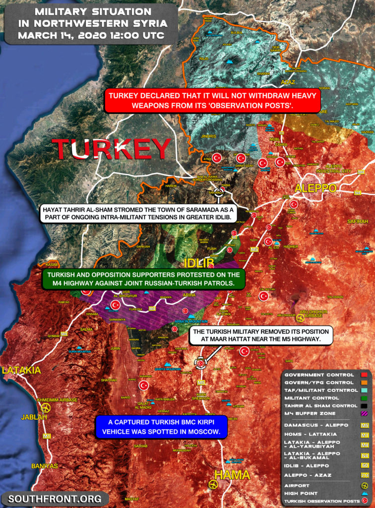 Military Situation In Northwestern Syria On March 14, 2020 (Map Update)