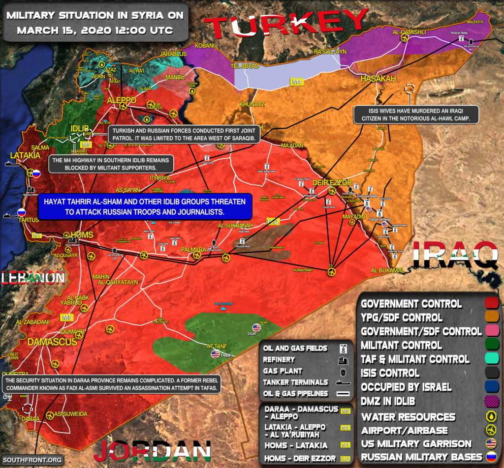 Military Situation In Syria On March 15, 2020 (Map Update)