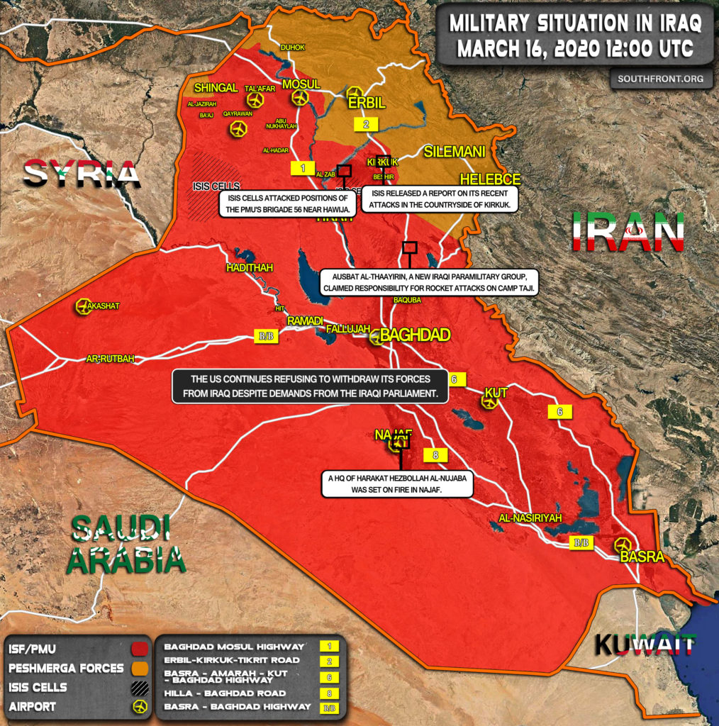 Military Situation In Iraq On March 16, 2020 (Map Update)