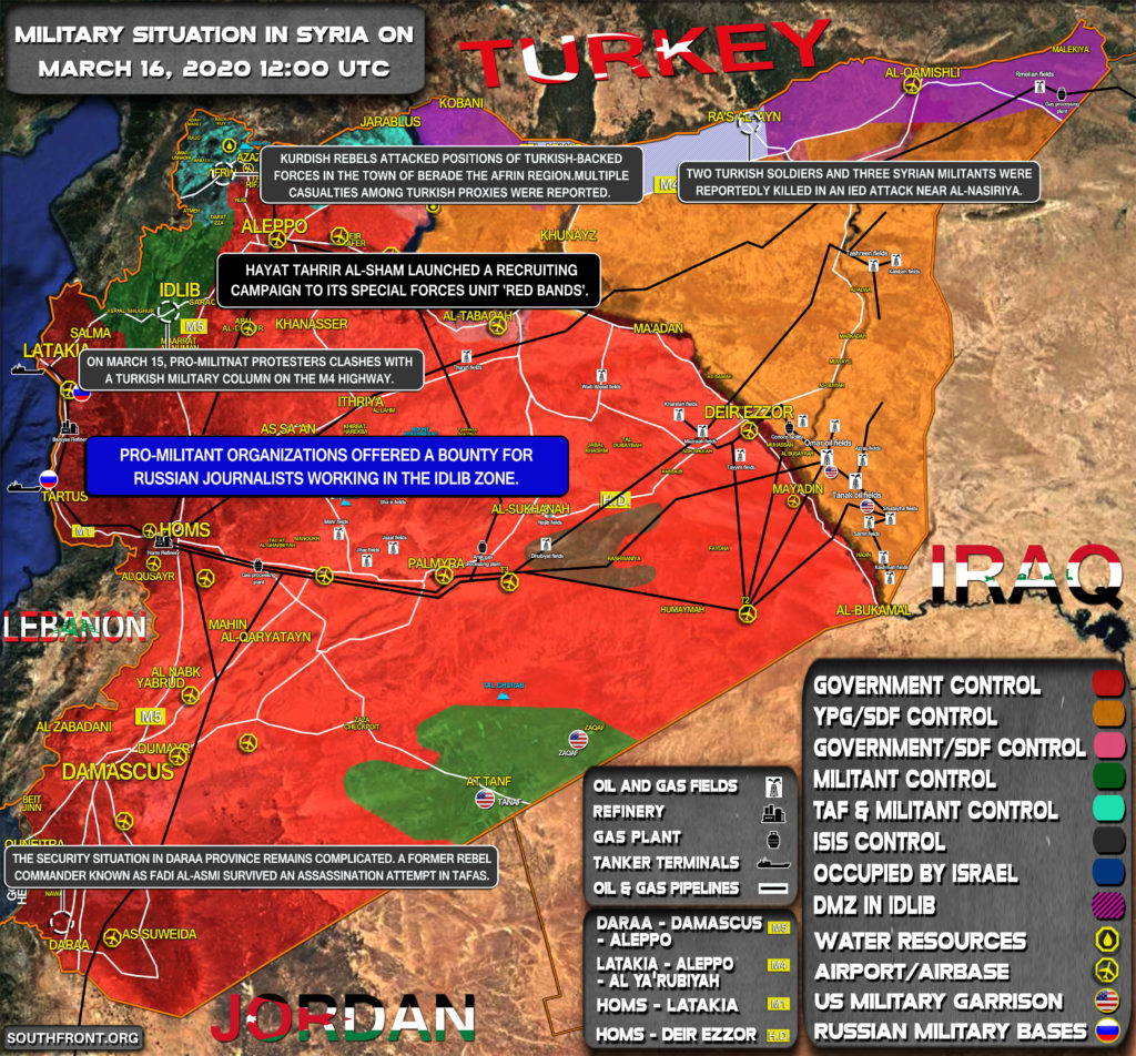 Military Situation In Syria On March 16, 2020 (Map Update)