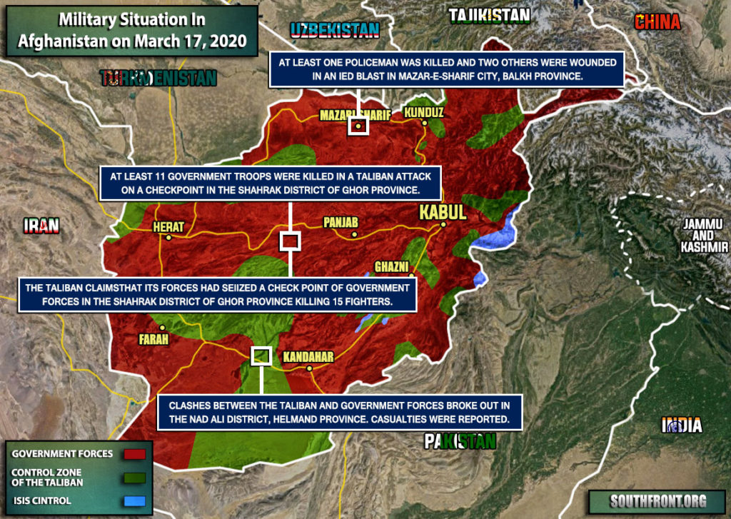 Military Situation In Afghanistan On March 17, 2020 (Map Update)