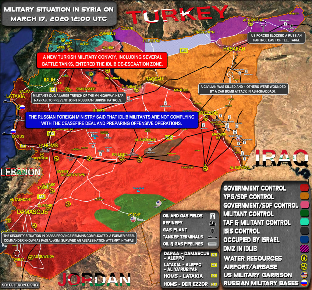 Military Situation In Syria On March 17, 2020 (Map Update)