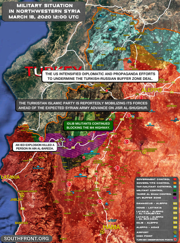 Military Situation In Northwestern Syria On March 18, 2020 (Map Update)