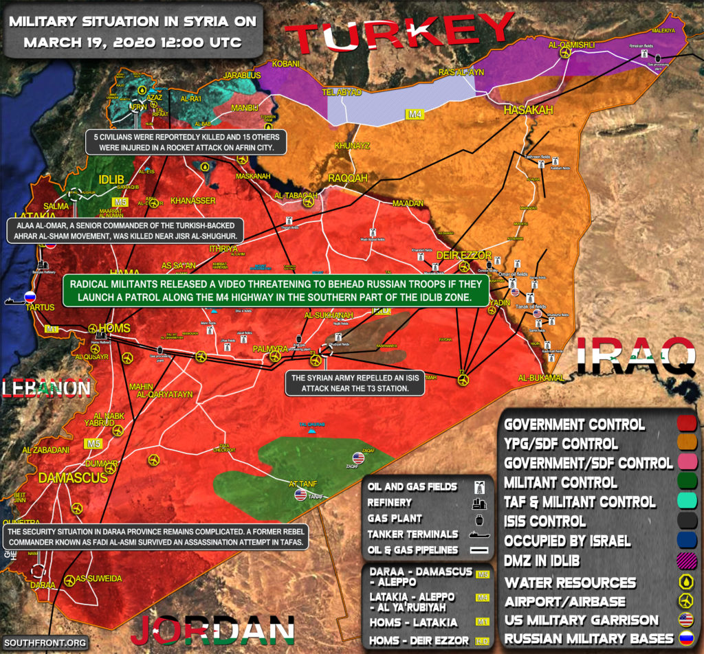 Military Situation In Syria On March 19, 2020 (Map Update)