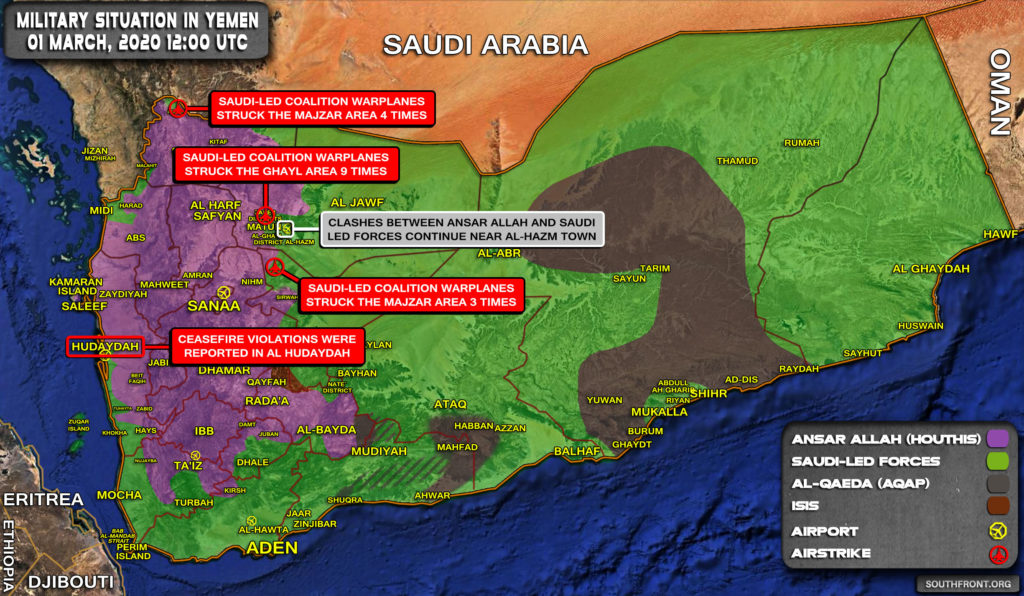 Military Situation In Yemen On March 1, 2020 (Map Update)