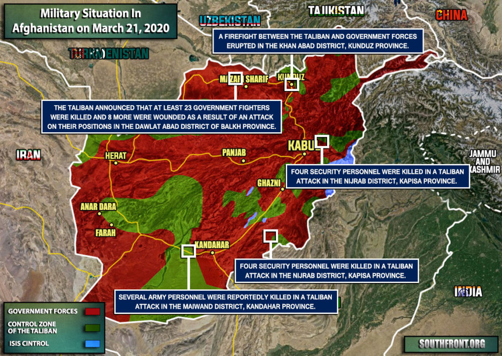 Military Situation In Afghanistan On March 21, 2020 (Map Update)