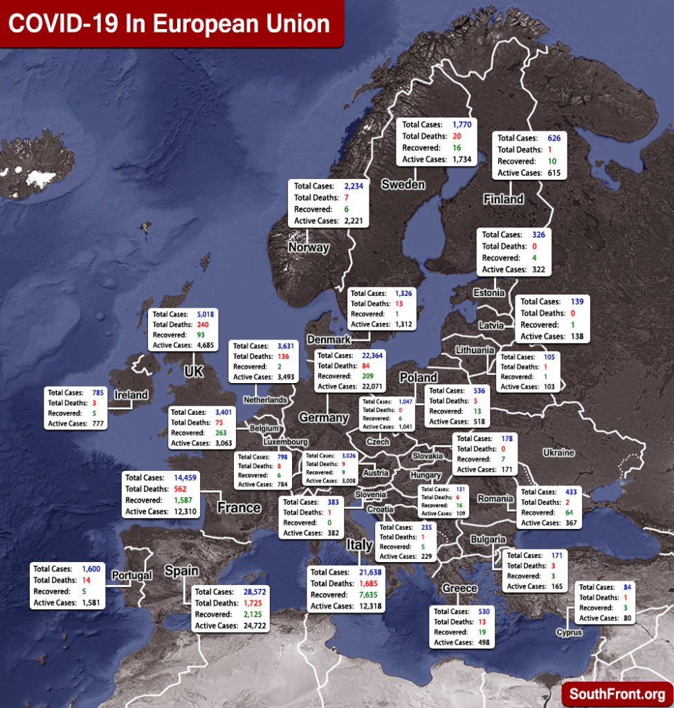 Map Update: COVID-19 Outbreak In European Union And U.K. As Of March 22, 2020