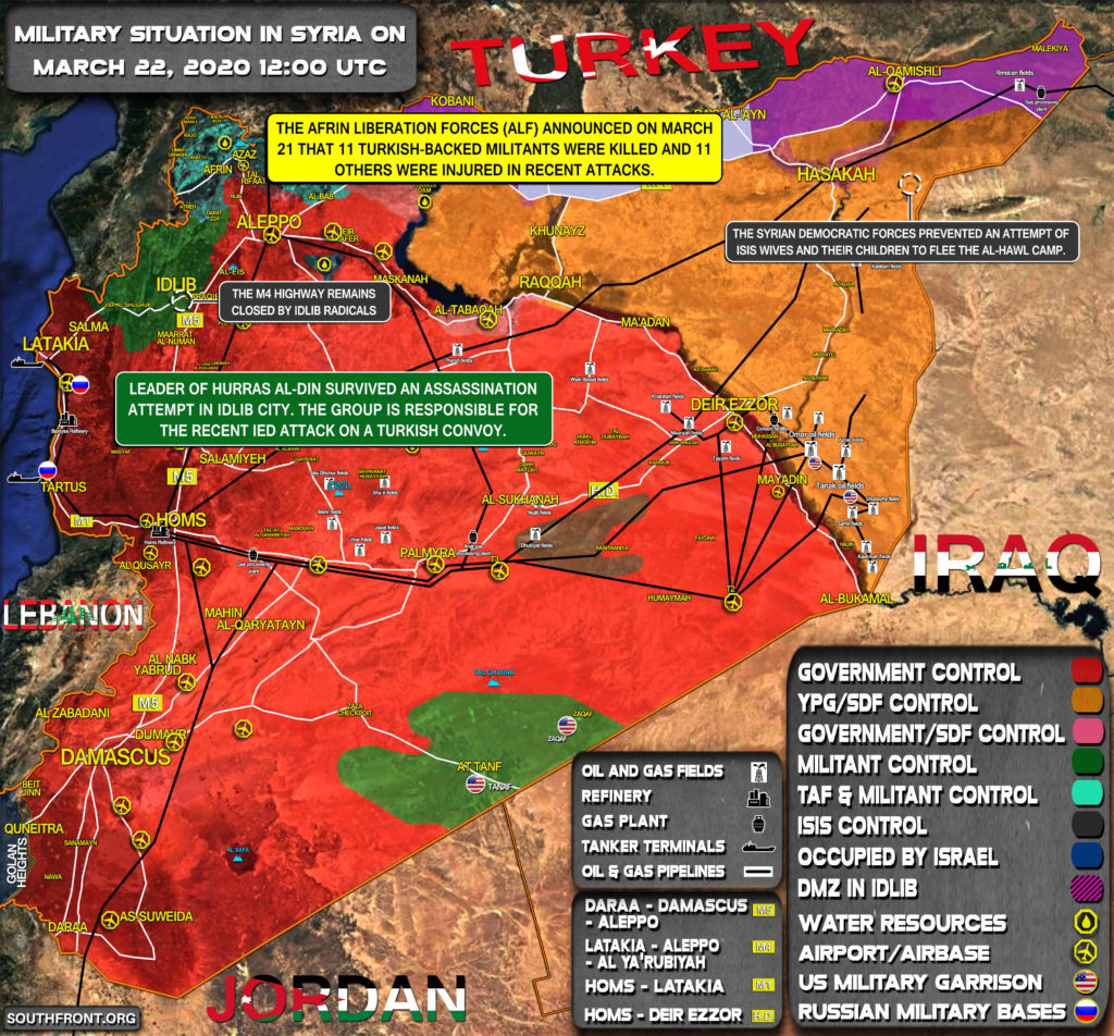 Military Situation In Syria On March 22, 2020 (Map Update)