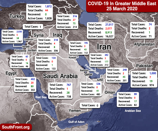 Map Update: COVID-19 Outbreak In Greater Middle East As Of March 25, 2020