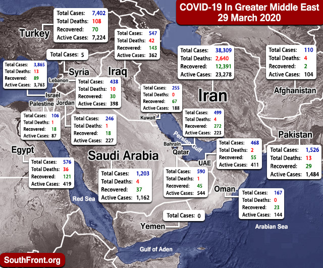 Map Update: COVID-19 Outbreak In Greater Middle East As Of March 29, 2020