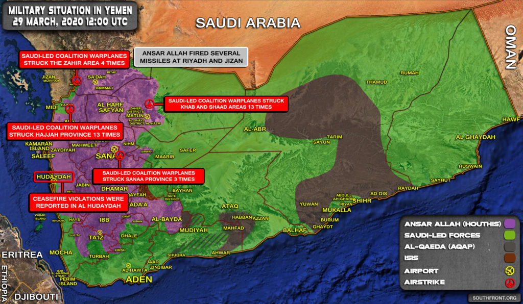 Military Situation In Yemen On March 29, 2020 (Map Update)