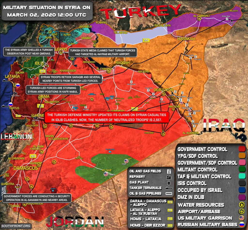 Military Situation In Syria On March 2, 2020 (Map Update)