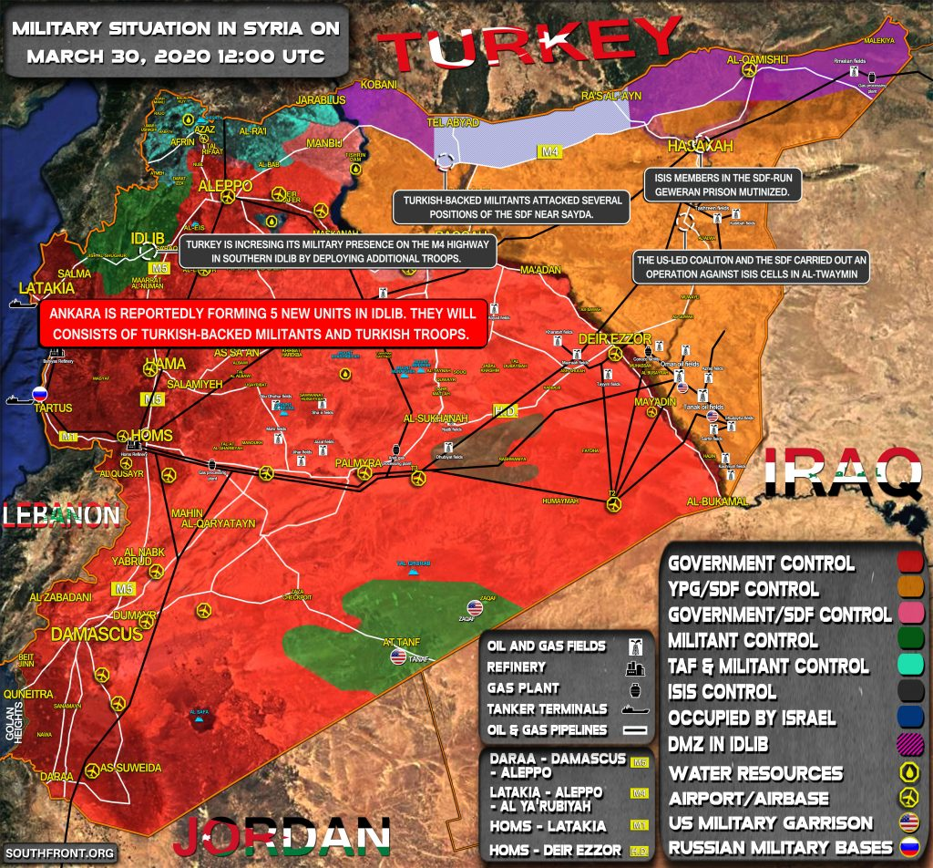 Military Situation In Syria On March 30, 2020 (Map Update)