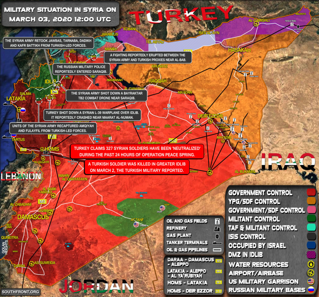 Military Situation In Syria On March 3, 2020 (Map Update)