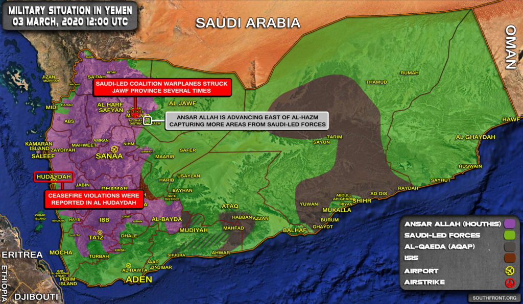 Military Situation In Yemen On March 3, 2020 (Map Update)
