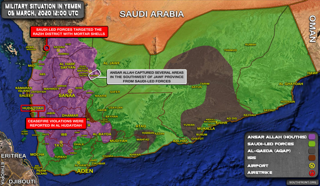 Military Situation In Yemen On March 5, 2020 (Map Update)