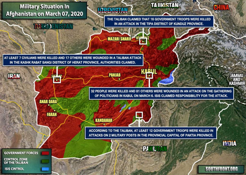 Military Situation In Afghanistan On March 7, 2020 (Map Update)