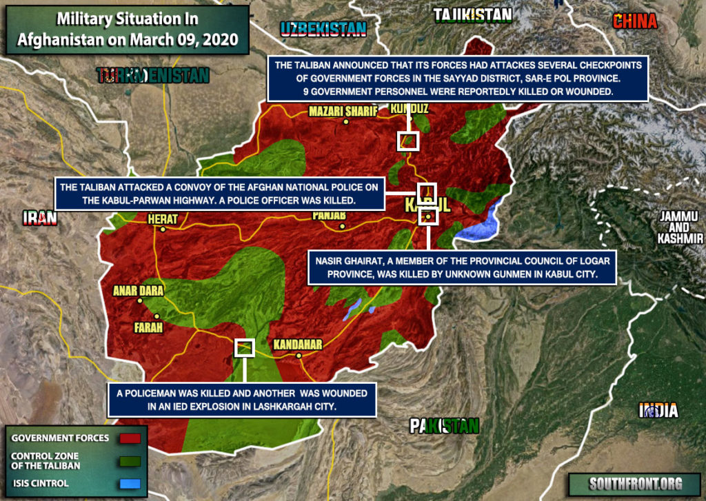 Military Situation In Afghanistan On March 9, 2020 (Map Update)