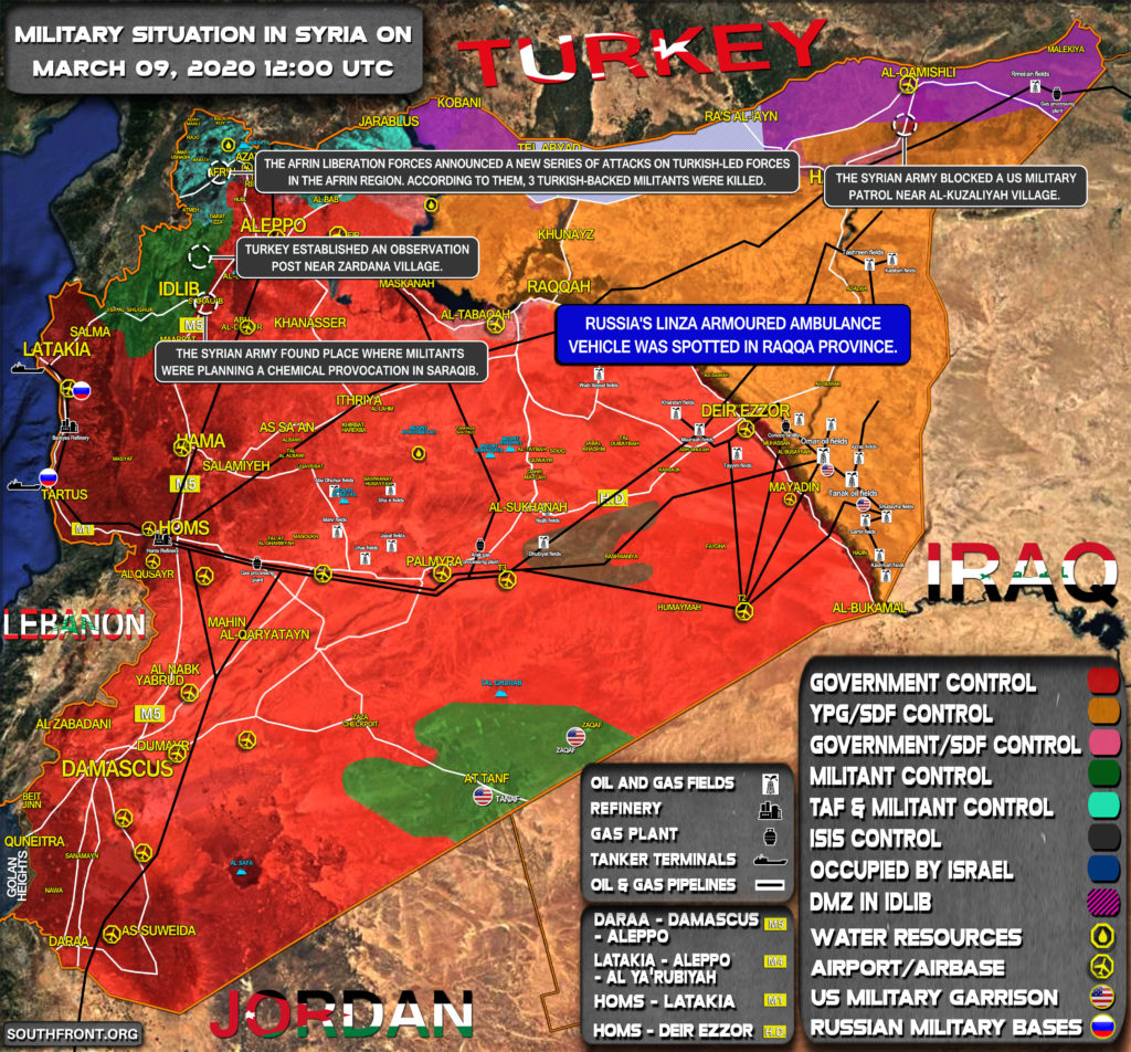 Military Situation In Syria On March 9, 2020 (Map Update)