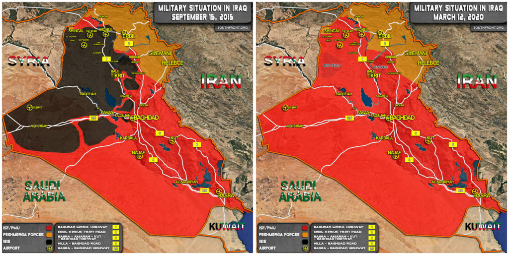 Military Situation In Iraq In September 2015 And March 2020 (Map Comparison)