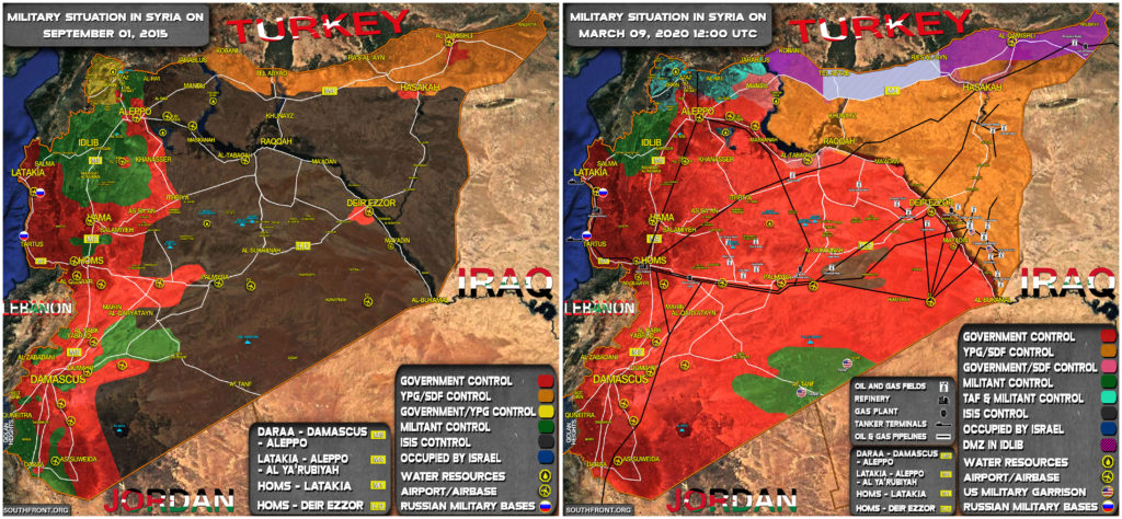 Military Situation In Syria In September 2015 And March 2020 (Map Comparison)