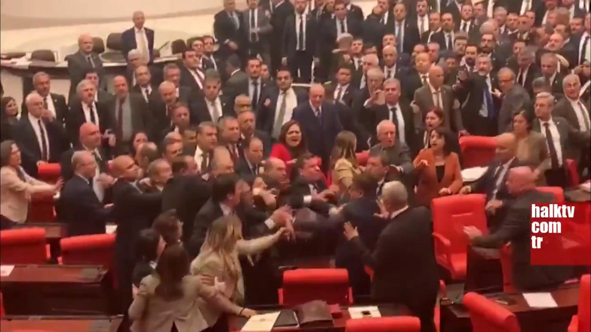 Fist Fight In Turkish Parliament Ahead Of Putin-Erdogan Meeting